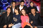 Shah Rukh Khan, Sonu Sood, Deepika Padukone, Abhishek Bachchan, Farah Khan, Vivaan Shah and Boman Irani during the promotion of movie 'Happy New Year' in Delhi