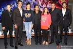 Vivaan Shah, Sonu Sood, Deepika Padukone, Shah Rukh Khan, Farah Khan, Boman Irani and Abhishek Bachchan during the promotion of movie 'Happy New Year' in Delhi