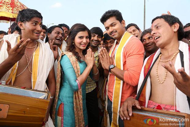 Samantha Ruth Prabhu and Vijay in a still from movie 'Kaththi'