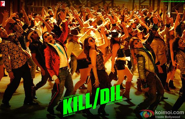Ali Zafar, Parineeti Chopra and Ranveer Singh a in a still from movie 'Kill Dil'