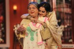 Ali Asgar and Rekha during the promotion of movie 'Super Naani' on the sets of Comedy Nights With Kapil