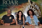 Aaran Chaudhary, Naura Fatehi and Aadil Chahal during the promotion of movie 'Roar' in Ghaziabad