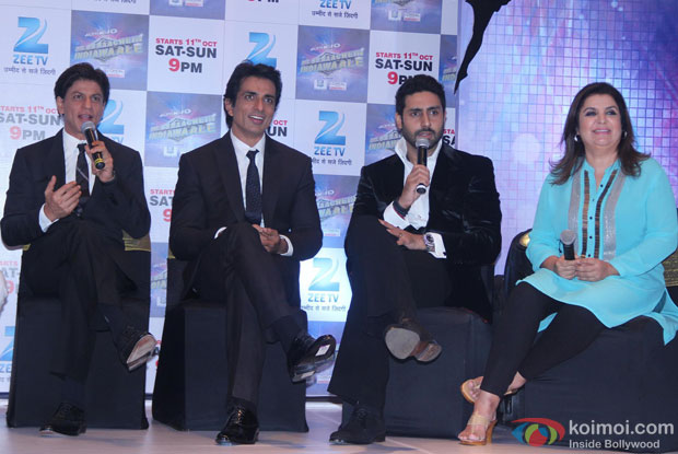 Shah Rukh Khan, Sonu Sood, Abhishek Bachchan and Farah Khan during the launch of new show 'Dil Se Naachein'