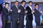 Vivaan Shah, Boman Irani, Sonu Sood, Abhishek Bachchan and Shah Rukh Khan during the launch of new show 'Dil Se Naachein'