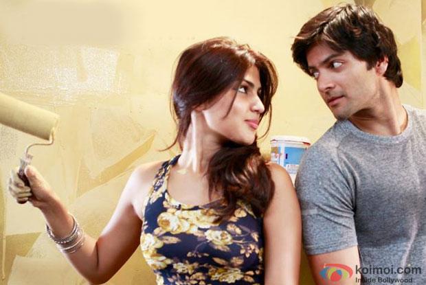 Rhea Chakravarty and Ali Fazal in a still from movie' Sonali Cable'