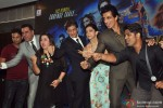Kumaar, Boman Irani, Farah Khan, Shah Rukh Khan, Deepika Padukone, Sonu Sood and EMCEE during the launch of Video Song 'Sharabi'