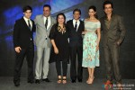 Vivaan Shah, Boman Irani, Farah Khan, Shah Rukh Khan, Deepika Padukone, Sonu Sood during the launch of Video Song 'Sharabi'