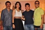 Rajkumar Hirani, Anushka Sharma, Aamir Khan and Vidhu Vinod Chopra during the teaser trailer launch of movie 'PK'