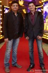 Irshad Kamil and Mayur Puri during The Grand World Premiere of Happy New Year in Dubai