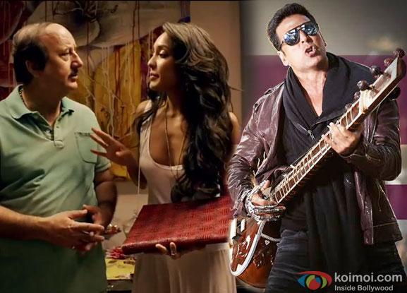 Anupam Kher, Lisa Haydon and Akshay Kumar in a still from movie ' The Shaukeens'