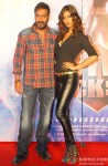Ajay Devgn and Manasvi Mamgai during the 'Gangster Baby' Song Launch From Movie 'Action Jackson'