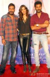 Ajay Devgn, Manasvi Mamgai and Prabhudheva during the 'Gangster Baby' Song Launch From Movie 'Action Jackson'