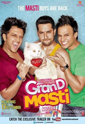 Riteish Deshmukh, Aftab Shivdasani and Vivek Oberoi in a 'Grand Masti' movie poster