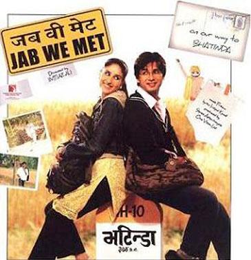 Kareena Kapoor and Shahid Kapoor in a 'Jab We Met' movie poster