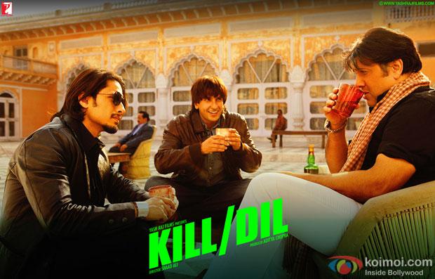 Ali Zafar, Ranveer Singh and Govinda in a still from movie 'Kill Dil'