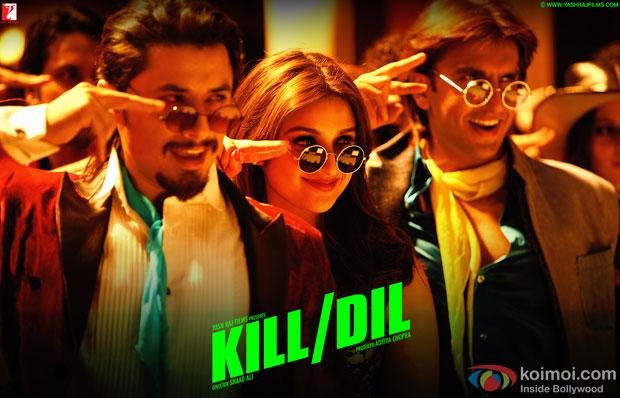 Ali Zafar, Parineeti Chopra and Ranveer Singh in a still from movie 'Kill Dil'