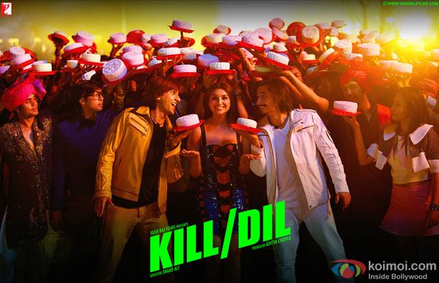 Ranveer Singh, Parineeti Chopra and Ali Zafar in a still from movie 'Kill Dil'