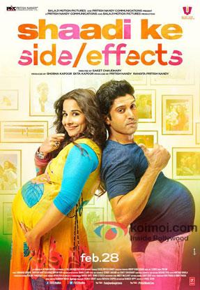 Vidya Balan and Farhan Akhtar in a 'Shaadi Ke Side Effects' movie poster
