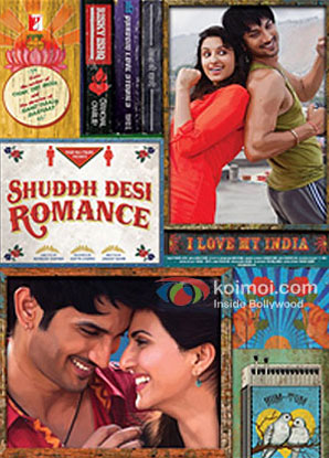 Parineeti Chopra and Sushant Singh Rajput in a 'Shuddh Desi Romance' movie poster