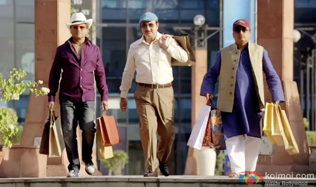 Annu Kapoor, Anupam Kher and  Piyush Mishra in a still from movie 'The Shaukeens'