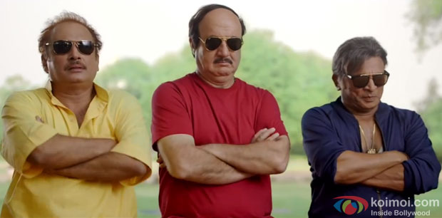 Piyush Mishra, Anupam Kher and Annu Kapoor in a still from movie 'The Shaukeens'