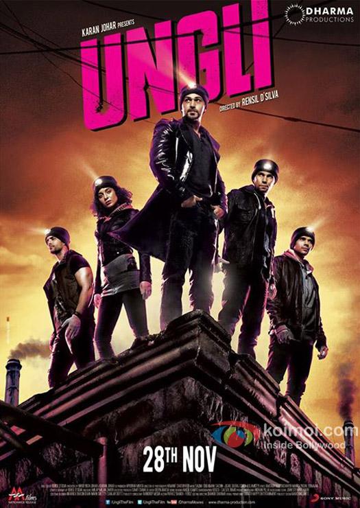 Angad Bedi, Kangana Ranaut, Emraan Hashmi,  Randeep Hooda  and Neil Bhoopalam in a 'Ungli' movie poster
