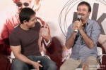 Aamir Khan and Rajkumar Hirani during the press conference of movie 'PK' Pic 2