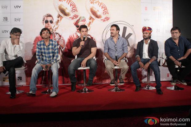 Aamir Khan, Rajkumar Hirani and Ajay-Atul during the press