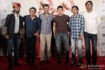 Aamir Khan, Rajkumar Hirani and Ajay-Atul during the press conference of movie 'PK' Pic 2