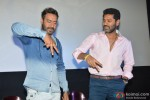 Ajay Devgn and Prabhu Dheva during the Action Jackson Song Launch Pic 3
