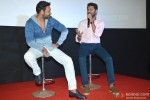 Ajay Devgn and Prabhu Dheva during the Action Jackson Song Launch Pic 4