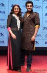 Sonakshi Sinha and Arjun Kapoor during the trailer lainch of movie 'Tevar' Pic 1