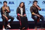Manoj Bajpai, Sonakshi Sinha and Arjun Kapoor during the trailer lainch of movie 'Tevar'