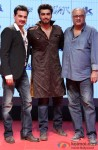 Sanjay Kapoor, Arjun Kapoor and Boney Kapoor during the trailer lainch of movie 'Tevar'