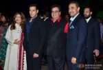 Salman Khan and Subhash Ghai during the Arpita Khan-Ayush Sharma's Wedding Reception In Mumbai