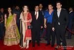 Nita Ambani, Mukesh Ambani, Sohail Khan and Arbaaz Khan during the Arpita Khan-Ayush Sharma's Wedding Reception In Mumbai