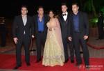 Arbaaz Khan, Sohail Khan and Salman Khan during the Arpita Khan-Ayush Sharma's Wedding Reception In Mumbai