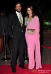 Chunky Pandey and Bhavna Pandey during the Arpita Khan-Ayush Sharma's Wedding Reception In Mumbai