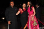 Suniel Shetty, Mana Shetty and Athiya Shetty during the Arpita Khan-Ayush Sharma's Wedding Reception In Mumbai