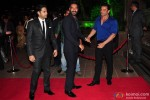 Ajay Devgn and Sohail Khan during the Arpita Khan-Ayush Sharma's Wedding Reception In Mumbai