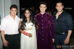 Aamir Khan and Salman Khan during the Arpita Khan-Ayush Sharma's Wedding Reception Pic 1