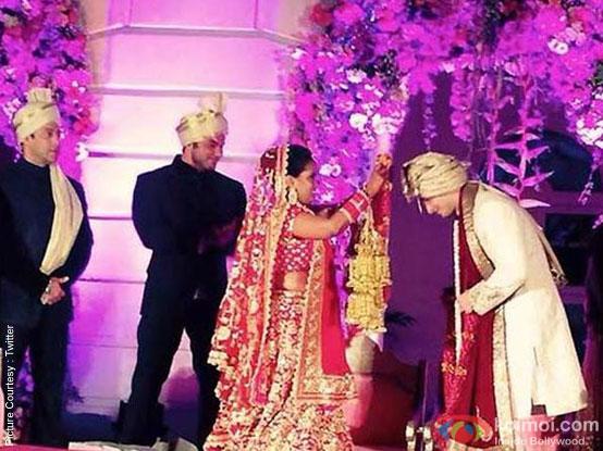 Salman Khan and Sohail Khan during the Arpita Khan-Ayush Sharma's Wedding