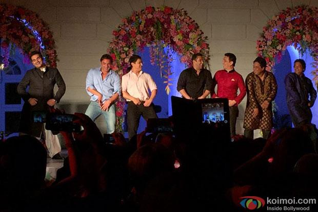 Arbaaz Khan, Sohail Khan, Aamir Khan, Salman Khan and Sajid Nadiadwala during the Arpita Khan-Ayush Sharma's Wedding