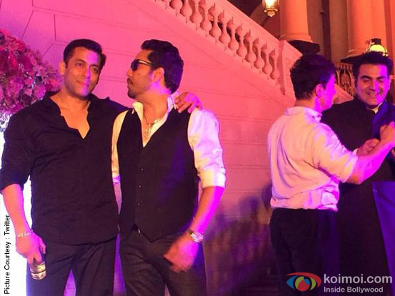 Salman Khan, Mika Singh, Aamir Khan and Arbaaz Khan during the Arpita Khan-Ayush Sharma's Wedding