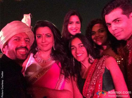 Kabir Khan, Katrina Kaif and Karan Johar during the Arpita Khan-Ayush Sharma's Wedding