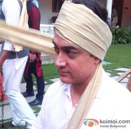 Aamir Khan during the Arpita Khan-Ayush Sharma's Wedding