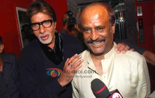 Amitabh Bachchan and Rajinikanth at an event