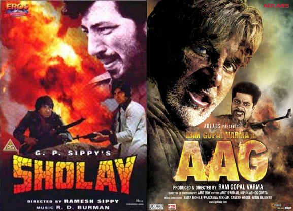 Sholay and Ram Gopal Varma Ki Aag Movie Poster