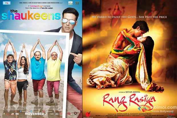 'The Shaukeens' and 'Rang Rasiya' movie posters