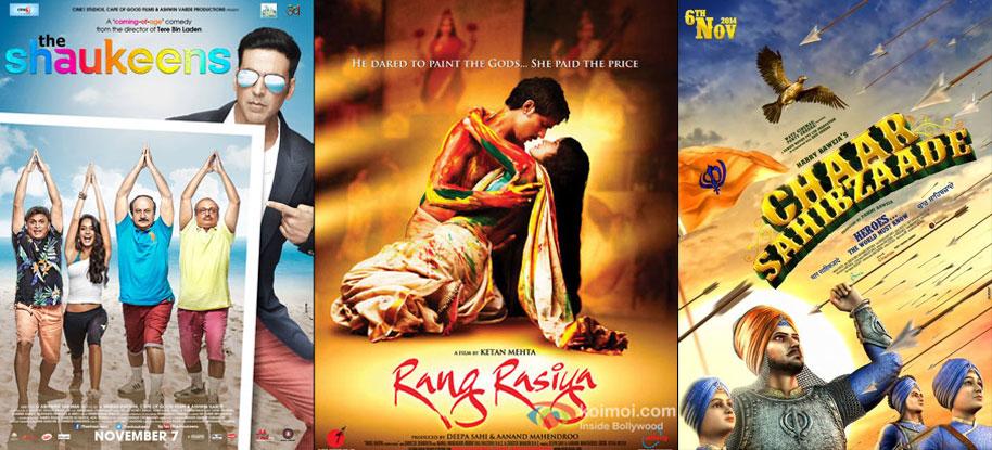 'The Shaukeens', 'Rang Rasiya' and 'Chaar SahibZaade' movie posters